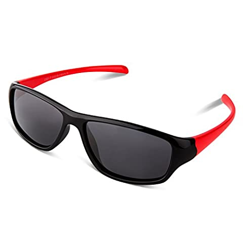 RIVBOS RBK028 Rubber Flexible Kids Polarized Sunglasses Cute Glasses Age 3-10 (Black&Red New)