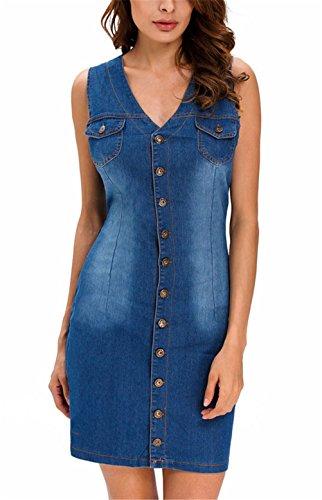 Frauen sexy V-Ausschnitt ärmellos Button-Down-dünnes Paket-Hüfte-Denim-Stretch-Kleid Blau