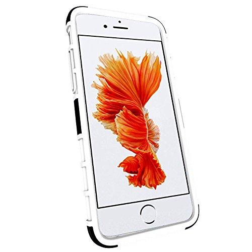 iPhone 7 Plus Hülle, 2 in 1 Bumper Stoßfest Schutz mit Ständer, Silikon + Hartplastik Case für iPhone 7 Plus (Blau) Weiß