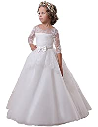 ccfa8f0c5 KekeHouse®Flower Girls Wedding Dress With Sleeves Lace Applique Kids  Birthday Party Dress Beading Sash