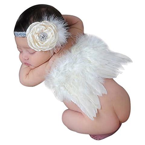 CHIC-CHIC-Bébé Déguisement Costume Prop Photographie Bandeau Cheveux Fleur Aile Ange Princesse 0-6M (Beige)