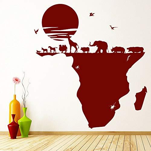 XCJX Etiqueta Pared Safari Animales Mapa África Vinilo