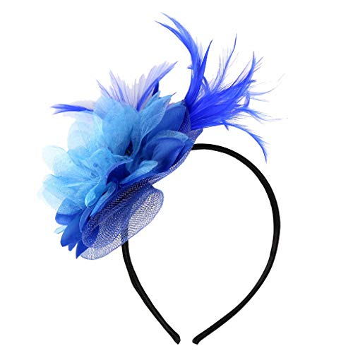 MIRRAY Feder 1920er Haarband Fascinators Womens Flower Derby Hut Für Cocktail Ball Hochzeit Neues Stirnband Blau (Klassische Stirnband Bob)
