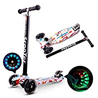 ‏‪AM ANNA Kids Scooter 3 Wheel Mini Adjustable Kick Scooter with LED Light Up Wheels(Red And White)‬‏