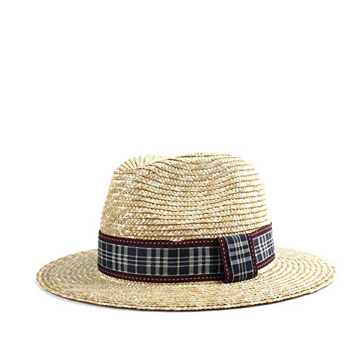 e8891f25 VAXT Direct Retro Panama Male Chaff Hat Sun Hat Husk Hat Beach Red Black  Plaid Fabric Summer Elegant Gentleman Hat Jazz Hat (Color : 1, Size : ...
