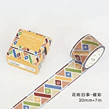 WRITIME Cinta adhesiva Washi 30Mm X 7M/12 Tipos de Estilos/Sombreado Calidades de Mármol Cintas de la Serie Tejas Decorativas Trozos de Papel y Cinta, Azulejos Cosas Antiguas - Color Cálido
