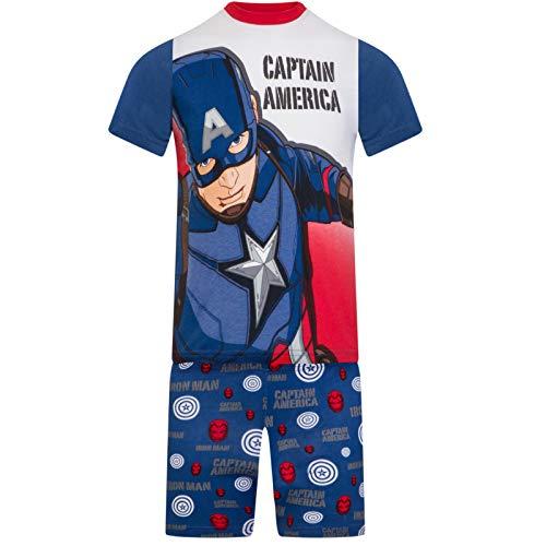 Marvel Avengers - Jungen Schlafanzug - kurz - Ironman, Hulk, Captain America, Thor - Offizielles Merchandise - Geschenk - Blau - 2-3Jahre