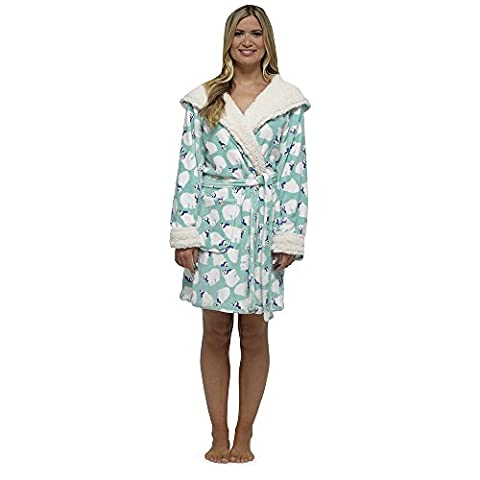 Womens Hooded Fleece Robes Ladies Floral Animal Design Coral Fleece Night Gown (MEDIUM 12/14, MINT POLAR BEAR)