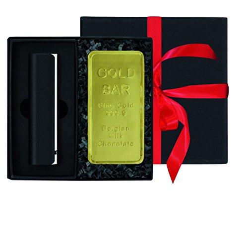 Ideal als Geschenk: 1 Pocket-Powerbank 3.000 mAh black inkl. Micro-USB-Kabel, Tasche und Lithium-Ionen-Batterie, 1 Schoko-Goldbarren aus belgischer Schokolade, 28 g