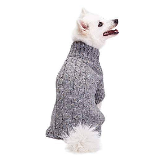 Blueberry Pet Tweed Woll-Mischung Zopfmuster Strickpullover Rollkragen Hundepulli in Cadet Grey, Rückenlänge 30cm, Einzelpackung Bekleidung für Hunde -