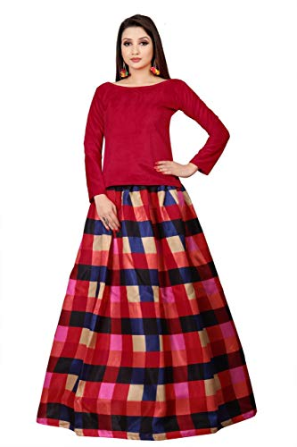 Royal fashion Women's Raw Silk Semi-Stitched Lehanga Choli (Red_Free Size)