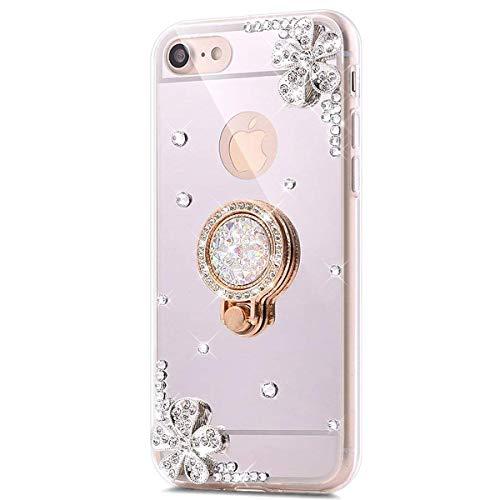 Surakey cover iphone 5/5s/se, effetto specchio silicone cover con fiore brillante strass bling lusso rotazione grip ring supporto case ultra sottile protettiva custodia per iphone 5/5s/se,argento