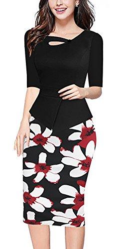 Minetom Damen Vintage Lange Ärmel 3/4 Hülse Kontrast Floral Blumenabend Bodycon Party Business Knielang Abendkleid Schwarz02