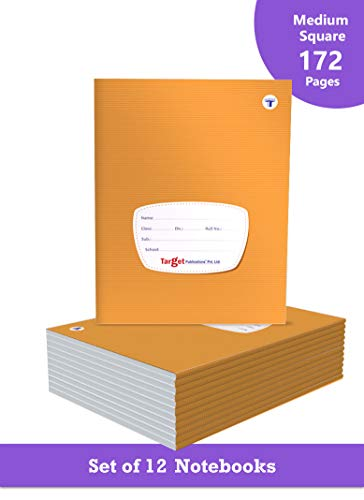 TARGET PUBLICATIONS Medium Square Box Notebooks for Kids | 172 Ruled Pages | Soft Bound Cover | Maths Practice Books | 18 cm x 24 cm Approx | Set of 12 | GSM 58