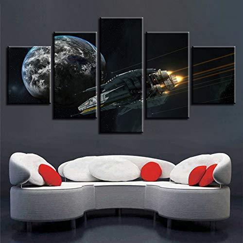 (Rjjdd Moderne Hd Drucke Leinwand Bilder Modulare Poster 5 Stücke Erde Planeten Und Rockets Malerei Rahmen Dekor Wohnzimmer Wandkunst-30Cmx40,with Frame)