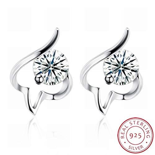 W-E Mode Trend Ohrringe Personalisierte Penrings Frauen/Edelstahl/Anti-Allergie/Silber Blinken/Diamanten/White Crystal/Klein und Exquisit, Bildfarbe -