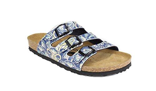 JOE N JOYCE Paris Synsoft Soft-Fußbett mit Kaktus Muster Pantoletten Schmal Cactus Blue