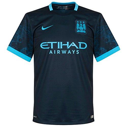 Nike 2ª Equipación Manchester City 2015/2016 - Camiseta Oficial Hombre, Color Negro/Azul, Talla L