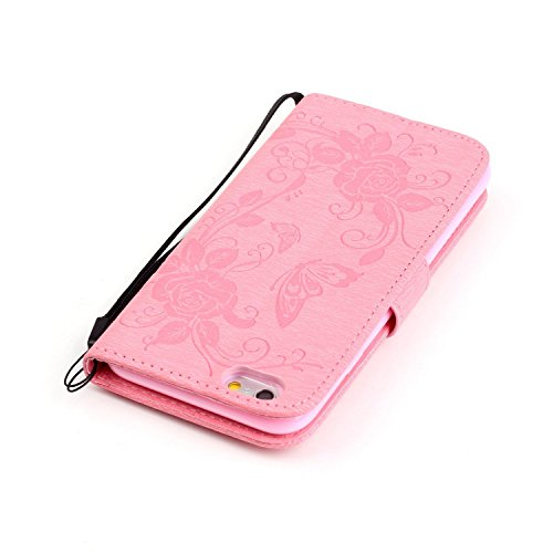 Coque pour iPhone 5 5S, Etui pour iPhone 5 5S, ISAKEN Coloré PU Cuir Flip Magnétique Portefeuille Etui Housse de Protection Coque Étui Case Cover avec Portable Dragonne Stand Support et Carte de Crédi Rose Papillon Pink
