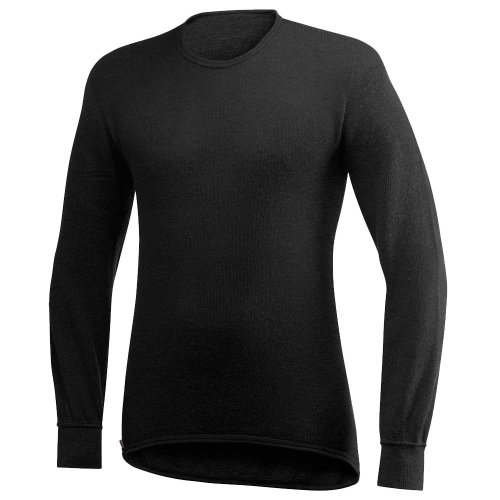 T-shirt manche longue ullfrotté 200 gr woolpower col rond noir