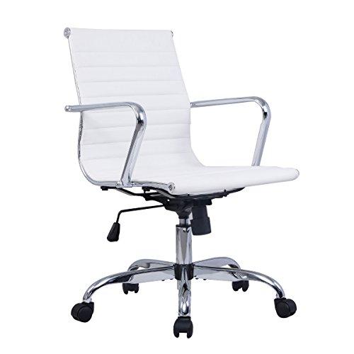 Bürostuhl Bürodrehstuhl Schreibtischstuhl Chefsessel PU Stuhl Arbeitshocker Drehstuhl ergonomisch Chefstuhl 2 Farben (Weiss)