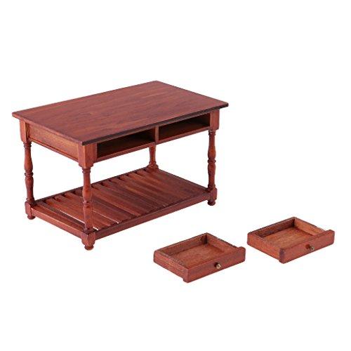 MagiDeal Miniatur Holz Tisch Schreibtisch Mit 2 Schubladen Für 1/12  Puppenhaus Büro Dekoration