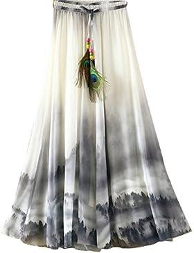 Botanmu elástico de las mujeres de cintura alta de la gasa de Boho maxi largo del vestido de la falda 17 colores