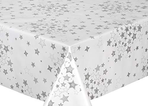 Beautex Wachstuchtischdecke abwischbar Tischdecke RUND ECKIG, Weihnachten Motiv und Größe wählbar (Sterne Weiß-Silber Eckig 140x100 cm)