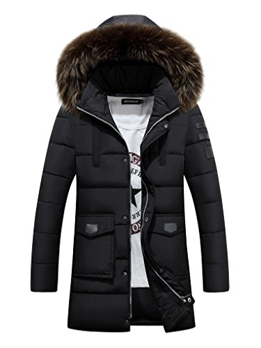 iBaste Herren Warm Winterjacke mit Fellkapuze verdickte Fashion Parka Wintermantel Jacket Winter Steppjacke Herrenmantel Kapuzenjacke Outdoorjacke Mantel Jacke Männer Schwarz