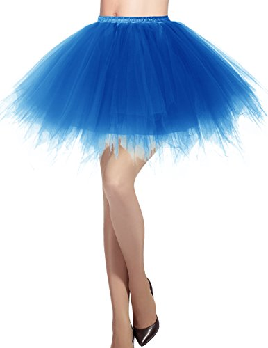 Dresstells Damen Tüllrock 50er Rockabilly Petticoat Tutu Unterrock Kurz Ballett Tanzkleid Ballkleid Abendkleid Gelegenheit Zubehör Royal Blue M
