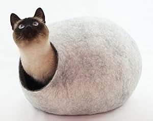 Kivikis Niche pour chat en laine de mouton naturelle et écologique Coloris : blanc neige. Taille L.