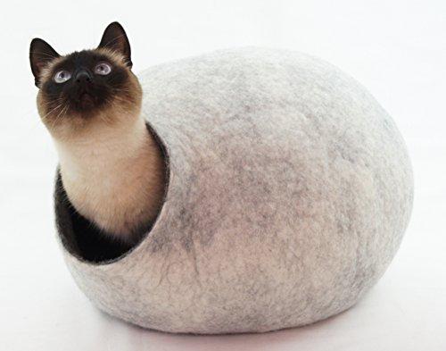 Katzenhaus, bett, bett höhle. Handgefertigt aus ökologischen Schaf Wolle. Farbe Schnee grau. Größe M (mittel) (cat house) -