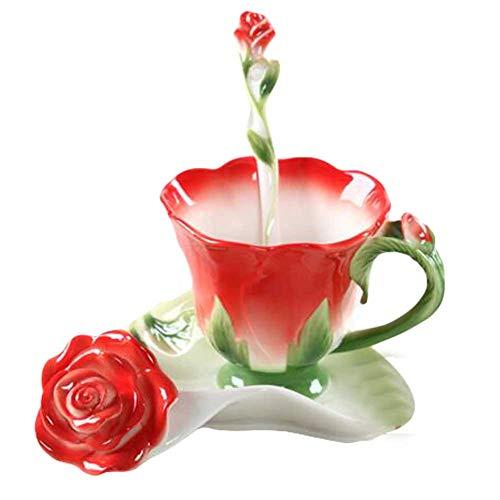 Pigeon Fleet Rote Rosen-Form-Entwurfs-Porzellan-Kaffee-Tee-Schalen-Sätze mit Untertasse und Löffel, 5,1 Unze Schale Rosen