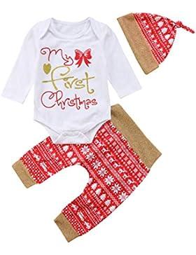 3 Stück My First Christmas Kleidung, Baby Junge Mädchen Lange Ärmel Strampler Spielanzug + Schneeflocke Rot Hose...