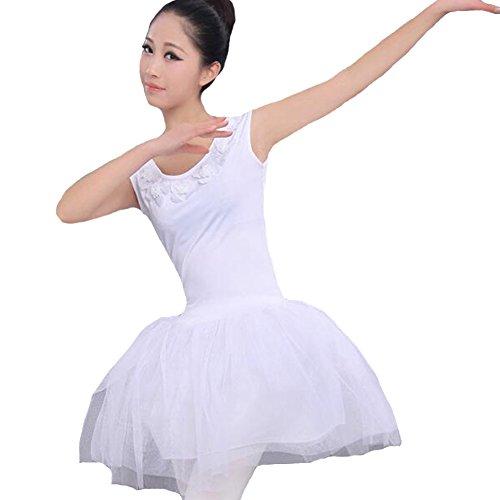 itopfoxeu pour femme sans manches blanc col rond avec fleurs à bulles gaze Ballet Jupe Blanc - Blanc