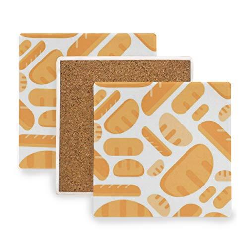 -nahtloses Muster-Bäckerei-Produkt Untersetzer für Getränke Untersetzer Untersetzer Untersetzer Set Cup Mat Pad 4er Set ()