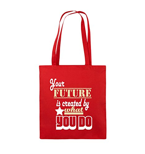 Comedy Bags - Your future is created by what you do - Jutebeutel - lange Henkel - 38x42cm - Farbe: Schwarz / Weiss-Neongrün Rot / Weiss-Beige