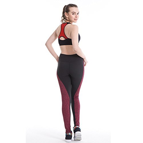 Ouneed® Femmes Haut Taille Gym Fitness Yoga Pants Rouge