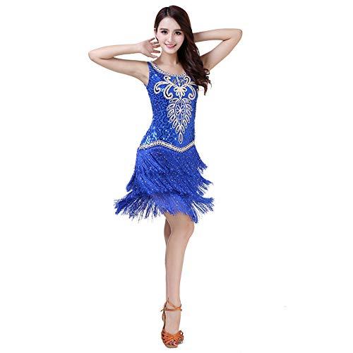 CPH20 Wettbewerb Kostüme Sway Cocktailkleid Floral Pailletten Ballsaal Latin Dance Kleid Tanzfee, Tanzleben. (Farbe : Blau, Größe : - Blue Star Princess Kostüm