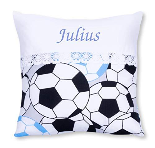 Amilian® Kissen 40 x 40 cm mit Namen Datum Fußball Blau - Fußball 40