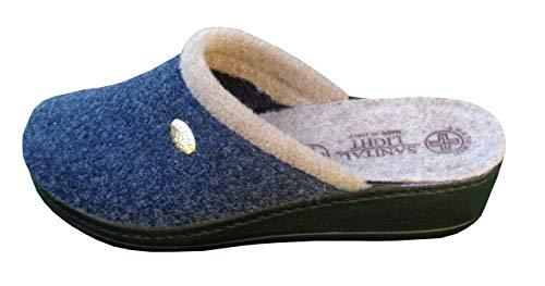 Zoom IMG-1 pantofola in lana cotta blu