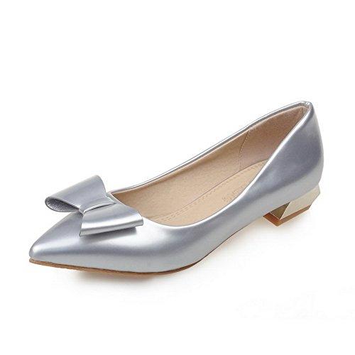VogueZone009 Damen Niedriger Absatz Lackleder Rein Ziehen Auf Spitz Zehe Pumps Schuhe Silber