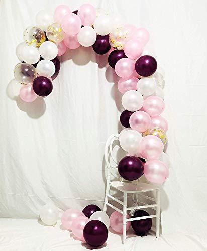 Burgunder Luftballons 80 Stück 12 Zoll Burgund Luftballons Baby Rosa Luftballons Gold Konfetti Luftballons Burgund und Gold Partydekorationen, Burgund und Gold Hochzeit Dekorationen ()
