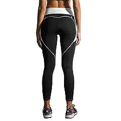 Idea Regalo - FITTOO Donna Fitness a Forma di Cuore Leggings Pantaloni di Yoga Caldi! Allenamento alla Caviglia Elasticizzato Palestra Abbigliamento sportivoivo Calzamaglie in Esecuzione X-Grande Nero + Bianco