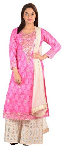 SAKSHI by JJS Women's Kota Silk Salwar Suit Set (TC-3008B--XXL, Pink, XX-Large)