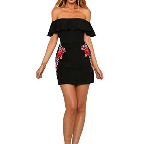 LILICAT Frauen Elegant Applikationen Rose Drucken ärmellos Kleid Damen Aus Schulter Slash Hals Riemen Mini-Kleid (Schwarz, (Mädchen Kostüm Slash)