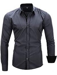 Kayhan Twoface Homme Chemise Slim Fit Repassage Facile Coton, Manches Longues S-6XL