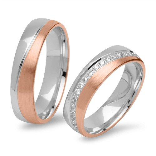 Gravierbare Eheringe bicolor 925er Silber rosé R8579s