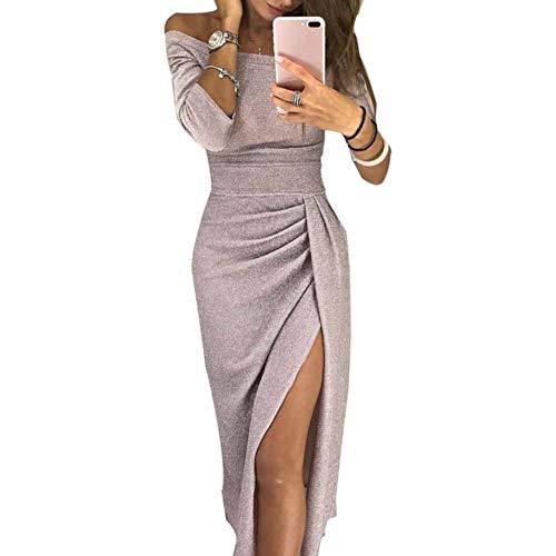 79f6c8343da4 CHIYEEE Vestito Donna con Senza Spalline Abito Donne Vestito da Manica a  3 4 Abito