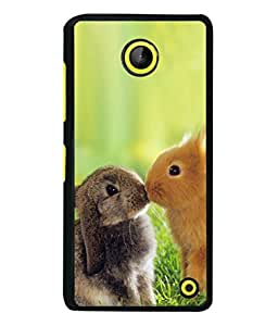 PrintVisa Designer Back Case Cover for Microsoft Lumia 630 (Two Cute Rabbits Playing In Field)